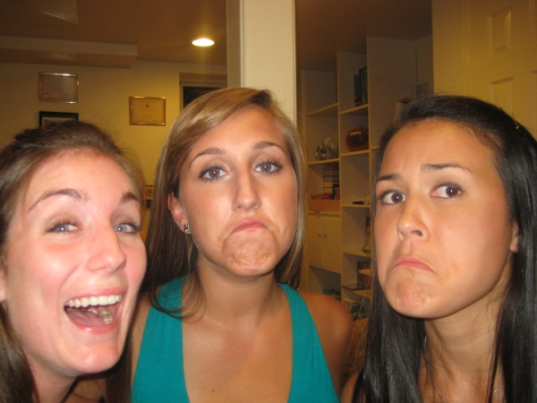trying to make our best frown/fish face. meg fails.